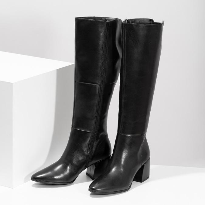 Kožené čierne čižmy s decentným prešitím bata, čierna, 694-6673 - 16