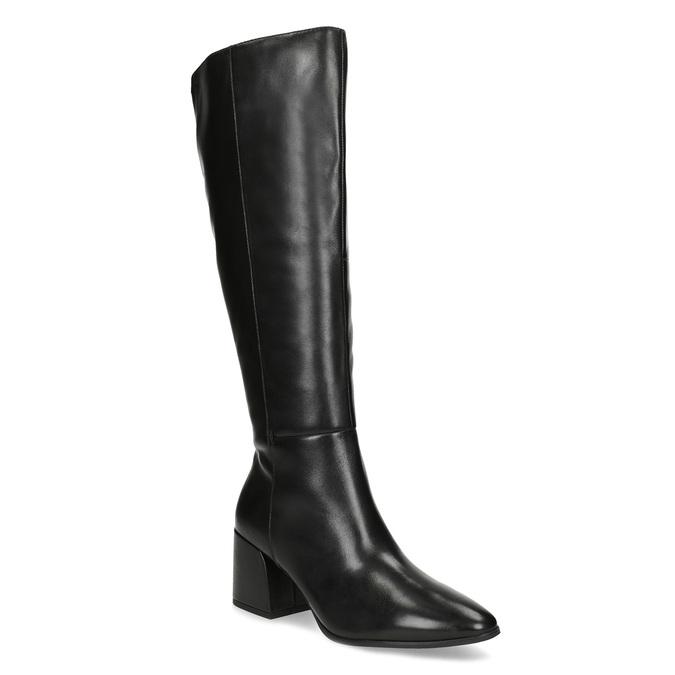 Kožené čierne čižmy s decentným prešitím bata, čierna, 694-6673 - 13