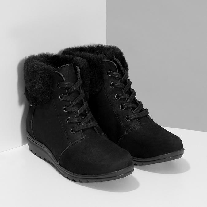 Členková dámska kožená obuv comfit, čierna, 596-6711 - 26