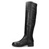 Čierne kožené čižmy s kovovými cvokmi bata, čierna, 596-6725 - 17
