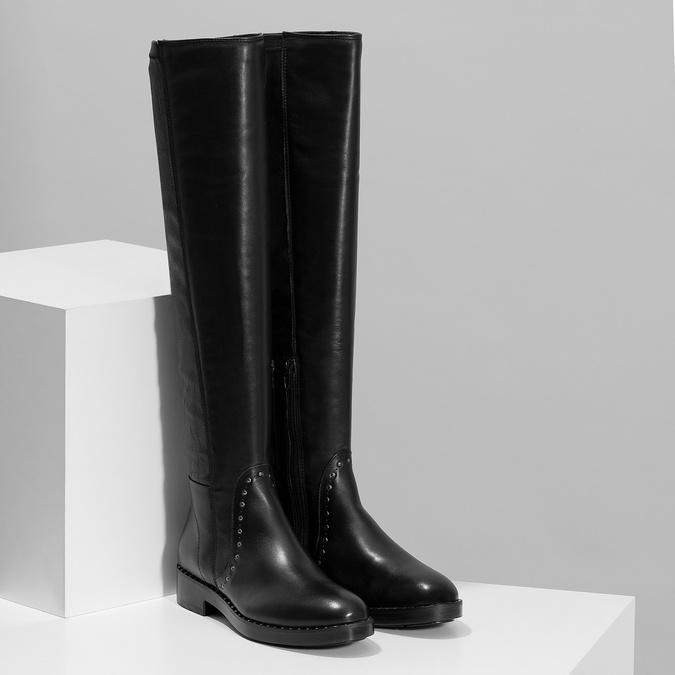Čierne kožené čižmy s kovovými cvokmi bata, čierna, 596-6725 - 26