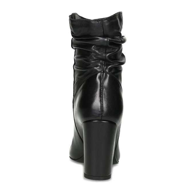 Čierne kožené čižmy s riasením bata, čierna, 794-6663 - 15