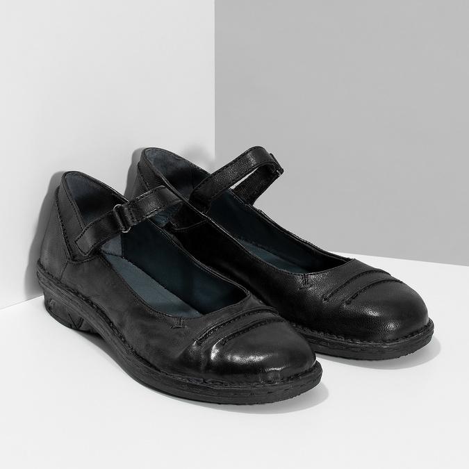 Kožené čierne baleríny s remienkom bata, čierna, 526-6664 - 26