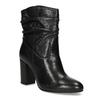 Čierne kožené čižmy s riasením bata, čierna, 794-6663 - 13