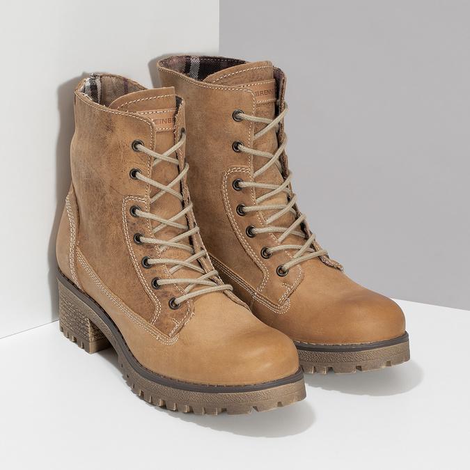 Dámska hnedá kožená členková obuv weinbrenner, hnedá, 696-3668 - 26