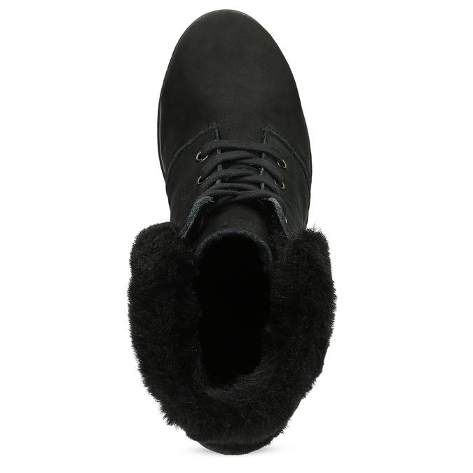 Členková dámska kožená obuv comfit, čierna, 596-6711 - 17