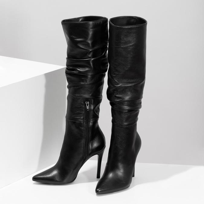 Kožené čierne čižmy na ihličkovom podpätku bata, čierna, 794-6665 - 16