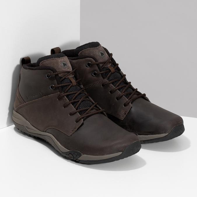 Členková hnedá kožená pánska obuv merrell, hnedá, 806-4102 - 26