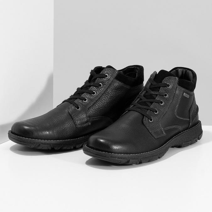 Pánske kožené zimné topánky bata, čierna, 894-6715 - 16