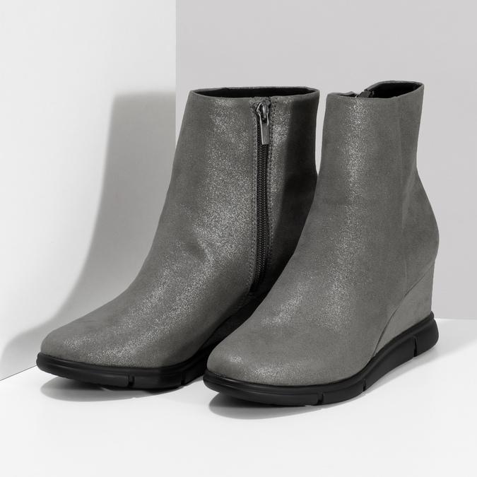 Dámska členková obuv na kline strieborná bata-b-flex, strieborná, 799-2642 - 16