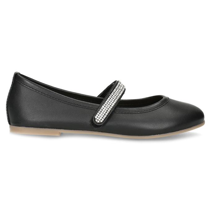 Čierne dievčenské kožené baleríny so štrasovým remienkom mini-b, čierna, 326-6601 - 19