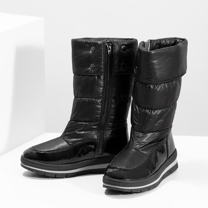Dámske čierne zimné topánky s výraznou podrážkou bata, čierna, 599-6622 - 16