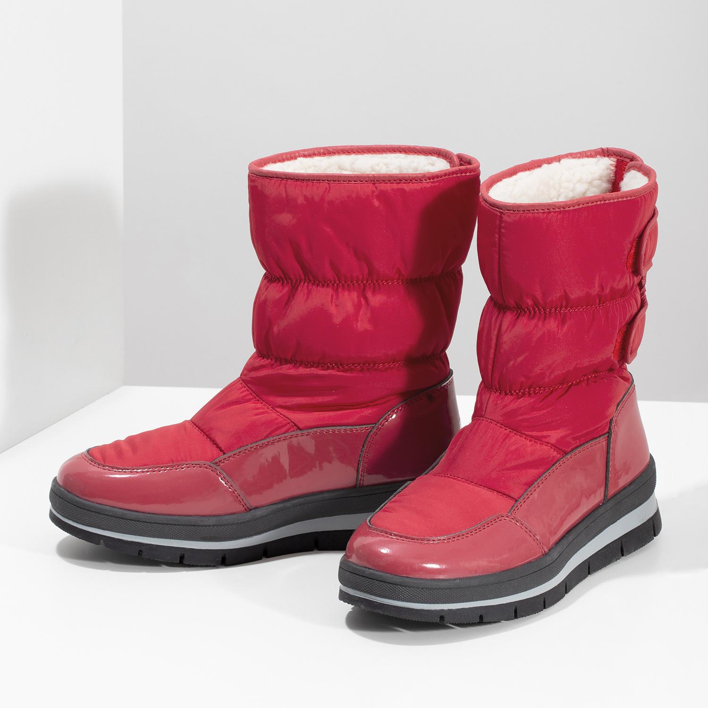 ff255c780814 Bata Červené dámske snehule s čiernou podrážkou - Snehule