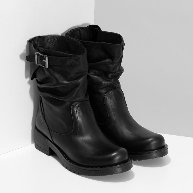 Kožené dámske čižmy s prackou bata, čierna, 594-6719 - 26