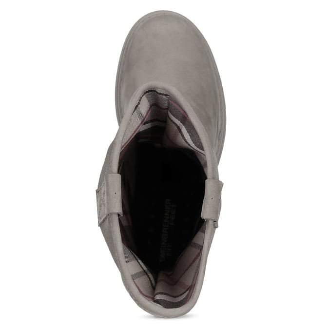 Dámske kožené čižmy s masívnou podrážkou weinbrenner, béžová, 596-8745 - 17