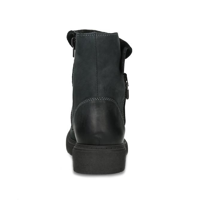 Dámska kožená zimná obuv s prešitím weinbrenner, čierna, 596-6751 - 15