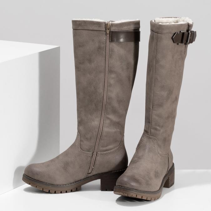 Béžové dámske čižmy s kožúškom bata, hnedá, 691-3643 - 16