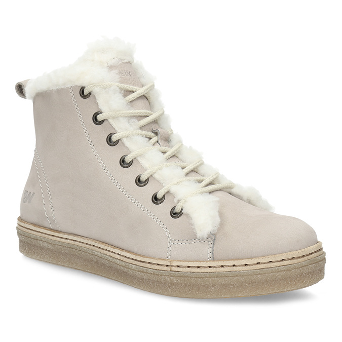 Kožená členková zimná obuv s kožúškom weinbrenner, béžová, 596-8730 - 13