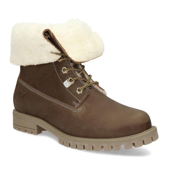Dámska hnedá kožená zimná obuv weinbrenner, hnedá, 596-3743 - 13