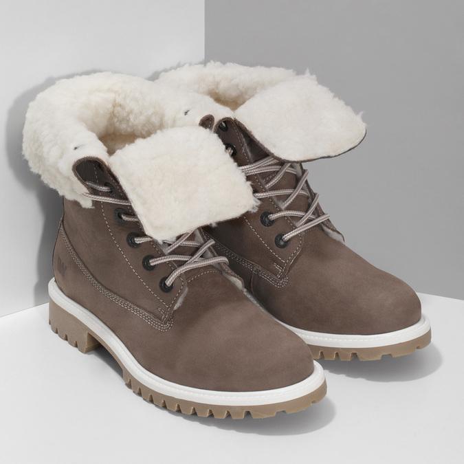 Hnedá dámska kožená zimná obuv weinbrenner, hnedá, 596-4727 - 26