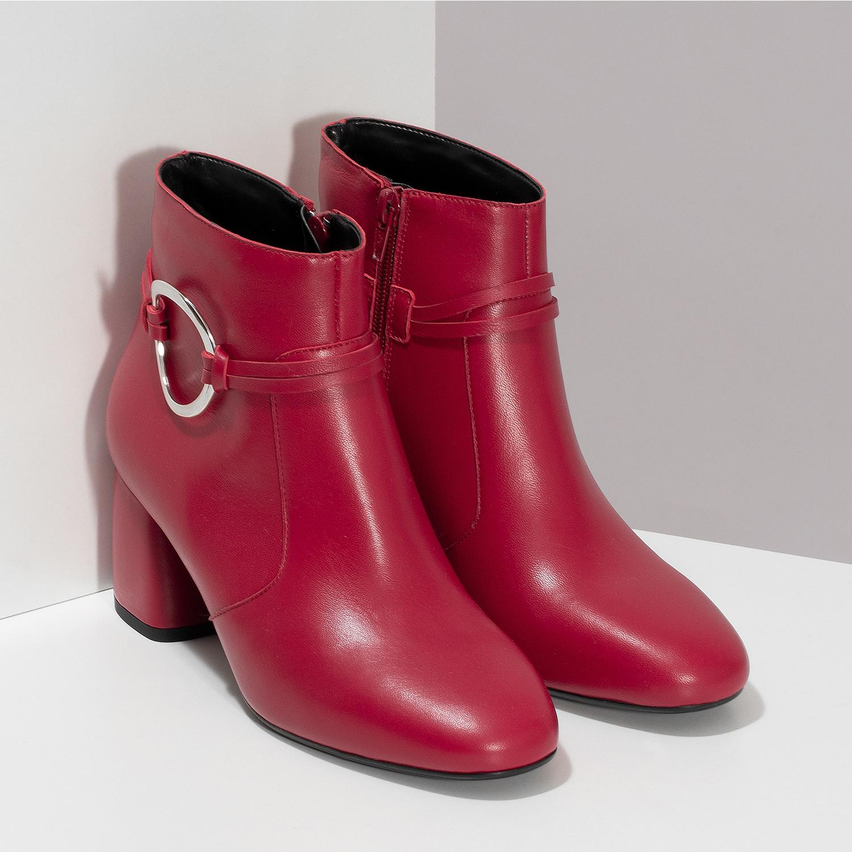 fa37d47e37e2c ... Červené kožené členkové čižmy s prackou bata, červená, 794-5608 - 26 ...