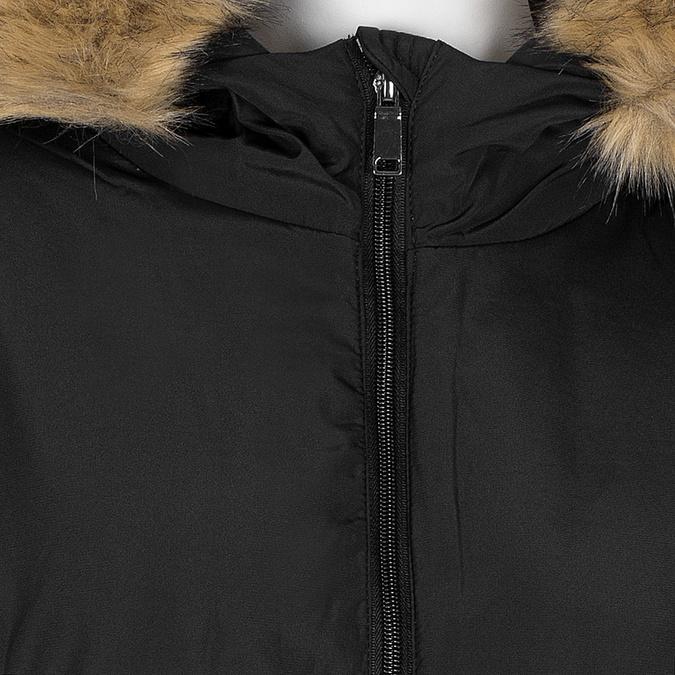 Dlhá dámska bunda s kapucňou a kožúškom bata, čierna, 979-6355 - 16