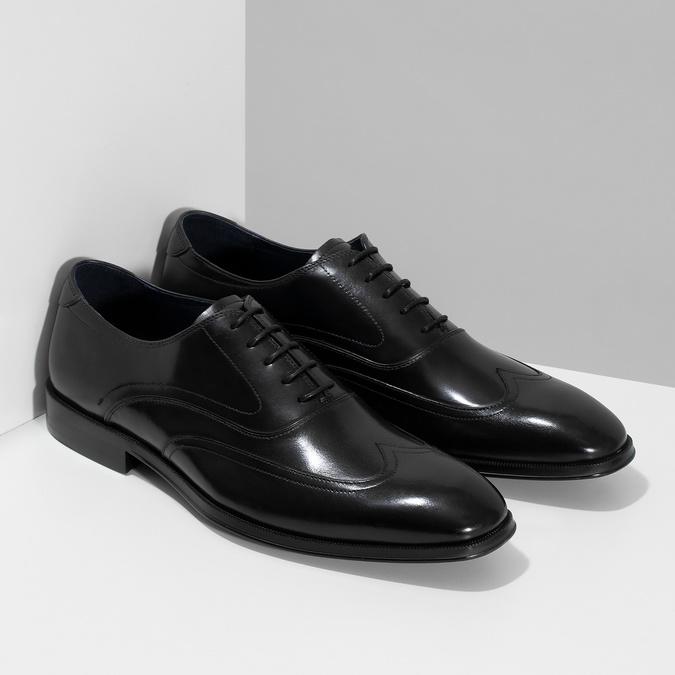 Pánske čierne kožené Oxford poltopánky bata, čierna, 824-6878 - 26
