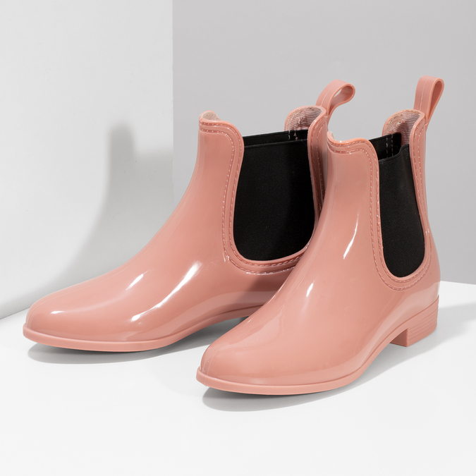 Béžové Chelsea členkové gumáky bata, ružová, 592-5610 - 16