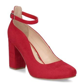 Červené dámske lodičky na stabilnom podpätku bata-red-label, červená, 729-5635 - 13