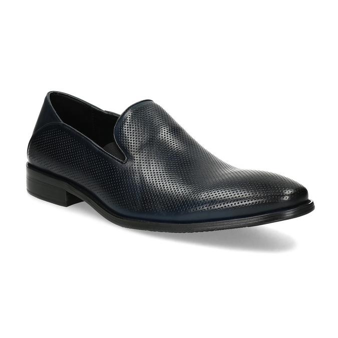 Pánske Loafers s perforáciou kožené bata, modrá, 816-9600 - 13