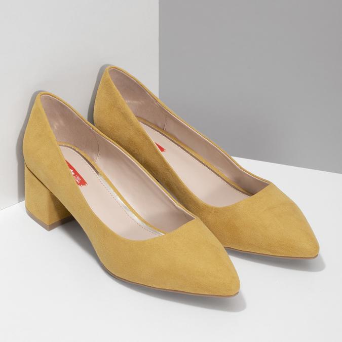 Žlté dámske lodičky na stabilnom podpätku bata-red-label, žltá, 629-8655 - 26