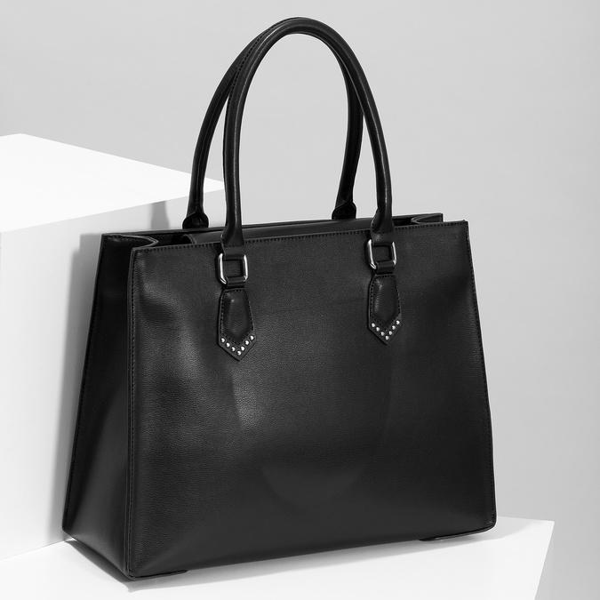 Čierna kabelka s kovovými cvočkami bata, čierna, 961-6962 - 17
