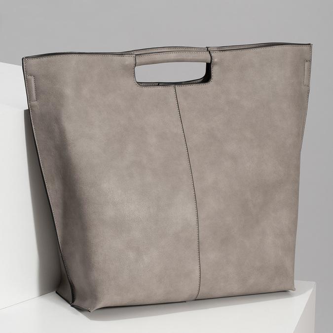 Dámska šedá kabelka s prešitím bata-red-label, šedá, 961-2958 - 17
