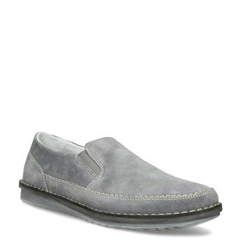 Pánske mokasíny z šedej brúsenej kože comfit, šedá, 833-2651 - 13