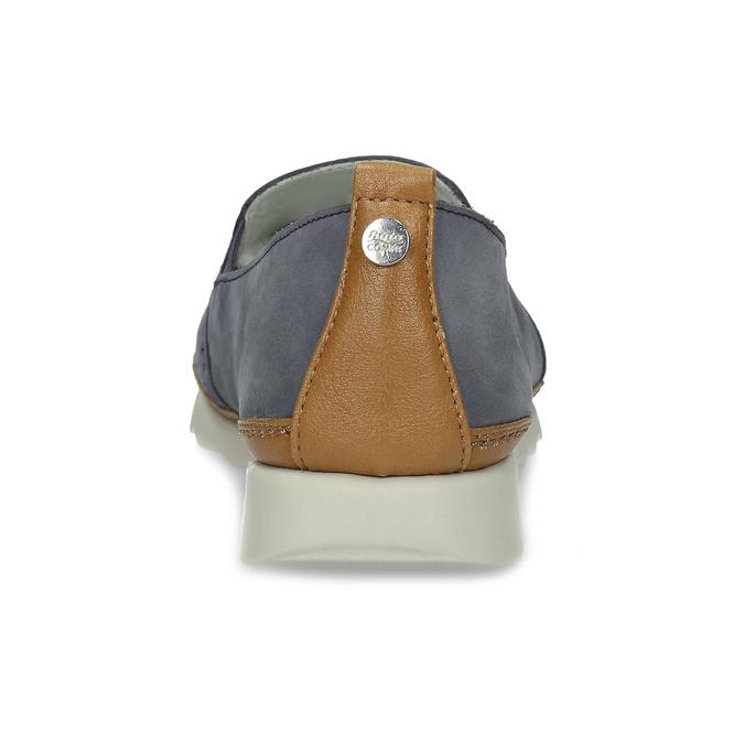 Dámska kožená Slip-on obuv s perforáciou comfit, modrá, 516-9614 - 15