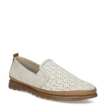Béžová kožená Slip-on obuv s perforáciou comfit, béžová, 516-8614 - 13
