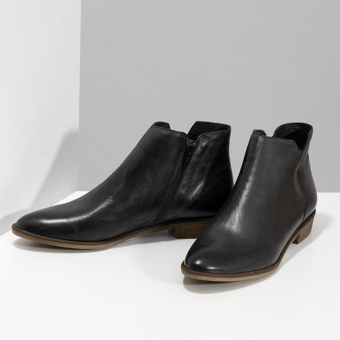 Čierne kožené členkové čižmy bata, čierna, 526-6666 - 16