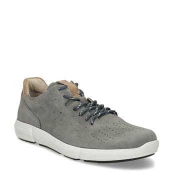 Pánske šedé kožené tenisky s perforáciou bata-light, šedá, 846-2722 - 13