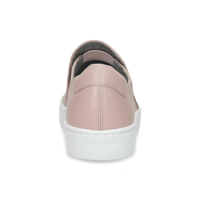 Ružová dámska kožená Slip-on obuv vagabond, ružová, 616-8079 - 15