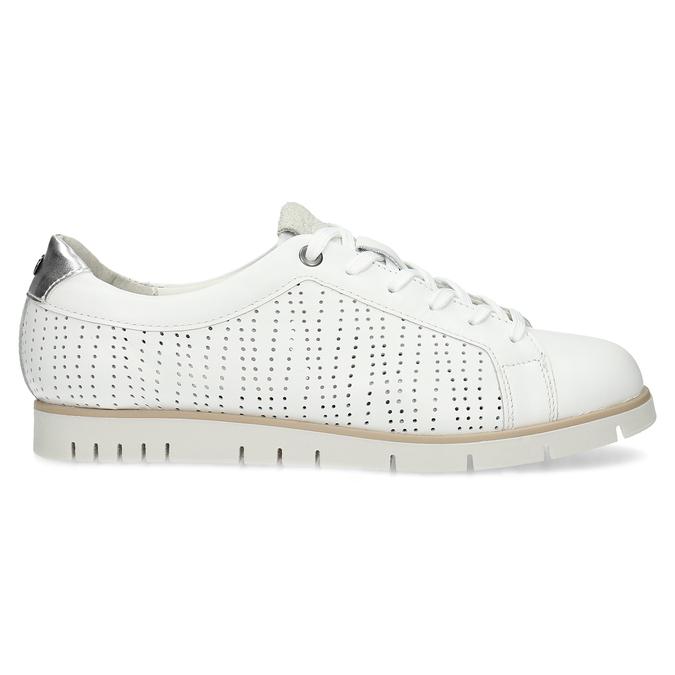 Biele kožené dámske tenisky s perforáciou flexible, biela, 524-1606 - 19