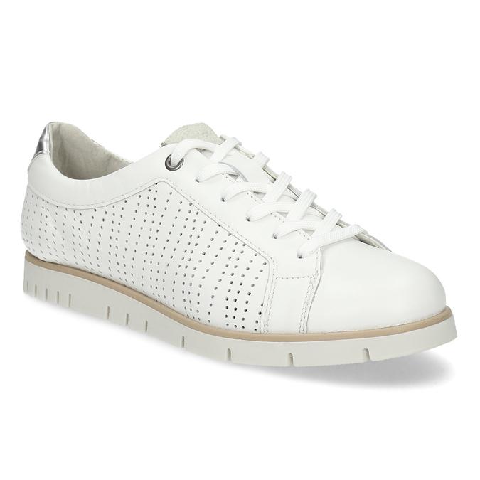 Biele kožené dámske tenisky s perforáciou flexible, biela, 524-1606 - 13