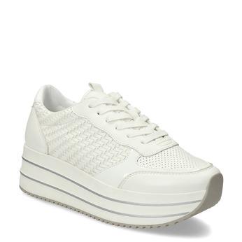 Biele dámske tenisky na vysokej flatforme bata-light, biela, 621-1656 - 13