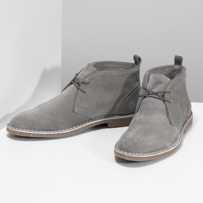 Pánske kožené Desert Boots šedé bata, šedá, 823-8655 - 16