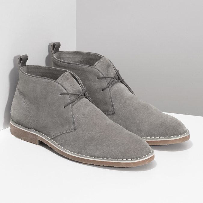 Pánske kožené Desert Boots šedé bata, šedá, 823-8655 - 26