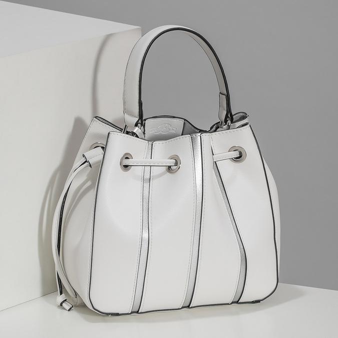 Dámska biela kabelka v štýle Bucket Bag bata, biela, 961-1964 - 17