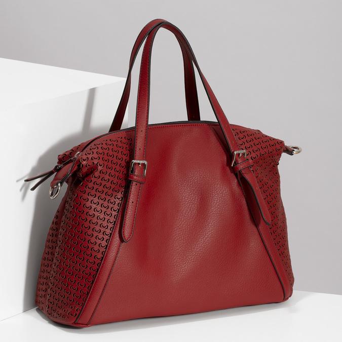Červená dámska kabelka s perforáciou bata, červená, 961-5888 - 17