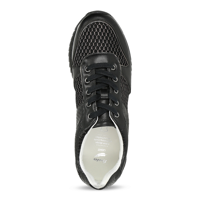 Čierne dámske tenisky s výraznou podrážkou bata-light, čierna, 521-6647 - 17
