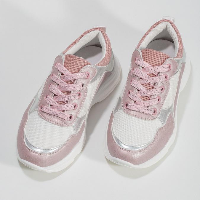 Dievčenské detské tenisky strieborno-ružové mini-b, ružová, 321-5684 - 16