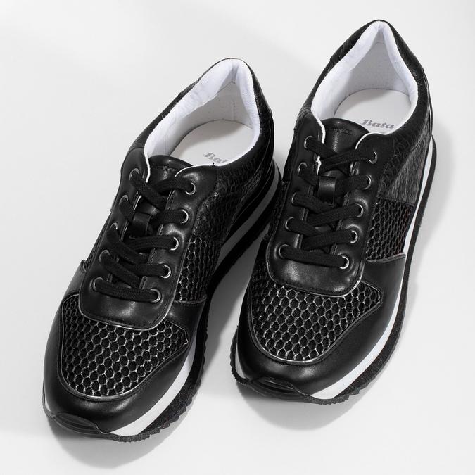 Čierne dámske tenisky s výraznou podrážkou bata-light, čierna, 521-6647 - 16