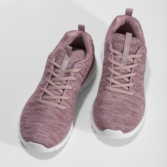 Dámske ružové tenisky so žíháním skechers, ružová, 509-5164 - 16
